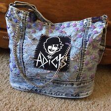The Adicts diy vintage acid wash denim handbag punk safety pin retro chain purse