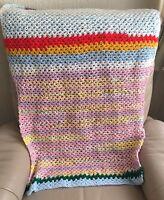 Vintage Crochet Throw 1970s Multi Coloured Dolls Blanket Shawl Chairback Cover