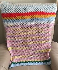 Vintage 1970s Multi Coloured Hand Crochet Doll's Blanket Shawl Chairback Throw
