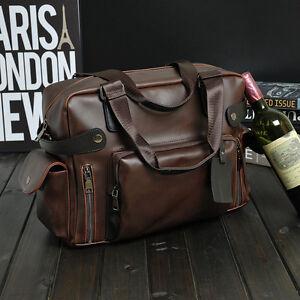 """Men's Leather Briefcase Attache 16*5*12"""" Laptop Portfolio Tote Bag Brown New"""