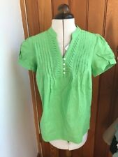 lady hathaway green or black short sleeved pintuck linen cotton blouse top s bnw