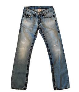 True Religion Bobby Super T Jeans Men Sz.31 W34 L33 Blue Authentic Distressed