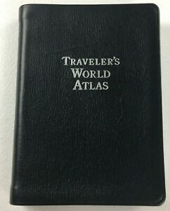World Atlas Travelers Book Black Leather Cover By Tiffany & Co