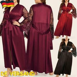 Damen Spitze Dessous Nachtwäsche Negligee Lang Kimono Morgenmantel Übergröße DE