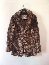 Retro Vintage Style Faux Fur Leopard Print Coat New Look Size 6 8