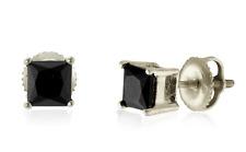 10K White Gold Princess Cut Black Diamond Stud Earrings .75ct - Screw Backs
