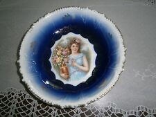 Royal Bavarian Fine China Germany Cobalt Blue Gold Guilded Beautiful Lady Center