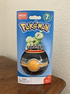 RARE Pokemon LARVITAR Pokeball Mega Construx FVK62 Building Set Series 7 - NIB!