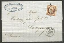 FRANCE. 1855. 40c IMPERF ON COVER.SEDAN POSTMARK. BERTECHE, BAUDOUX-CHESON, NINN