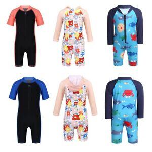 Kids Boys Girls One-Piece Swimsuits Swimwwear Rash Guard Swimming Bathing Suit