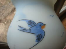 Antique Vintage Hand Painted Glass Light Lamp Shade Blue Bird Birds Estate Find