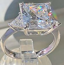 Elegant Simulated Diamond Princess Cut Trilogy Real Sterling Silver 925 Ring