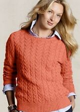 LANDS' END CANVAS Women's Cable Knit Crewneck Sweater XXS 00 XX-Small Orange NEW
