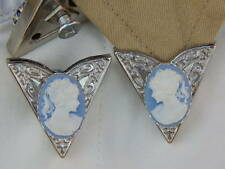 NEW PAIR OF  COLLAR TIPS BLUE/WHITE CAMEO LADIES  SILVER METAL,GOTH,WESTERN