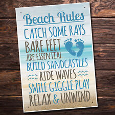 Beach Rules Seaside Nautical Bathroom Chic Hanging Wall Door Sign Plaque Decor