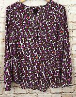 Worthington blouse shirt womens large vneck button print red purple long slv F2