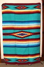 Saltillo Mexican WovenThrow or Area Rug Tapestry Southwestern Lg 4x6' Aqua Green