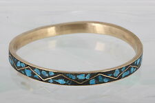 COSTUME BRASS INDIA BLACK & TURQUOISE COLOR BANGLE BRACELET FASHION 0301B