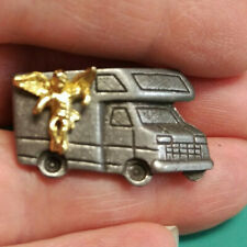 Camping Angel Pin has gold color angel on a pewter RV - NICE Travel Angel Pin