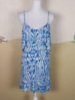 Tart Womens Size XS Tunic Dress White Blue Spaghetti Strap V-Neck