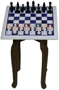 "12"" Marble Lapis Inlay Chess Table Top With 2"" Pieces & 15"" Wooden Stand W537"