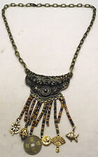 "Vintage 20.25"" Necklace w/ Dangling Colored Beads from Curved Pendant Brass Tone"