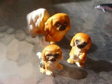 Josef Originals Set 3 Miniature Peke Pekingese Dogs Mama Puppies Tri Color Woof!