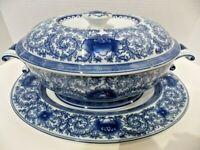 Bombay Soup Tureen & Platter Oriental Blue/White Lotus Flower Design Quality EUC