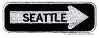 SEATTLE ONE-WAY SIGN EMBROIDERED IRON-ON PATCH applique WASHINGTON SOUVENIR ROAD