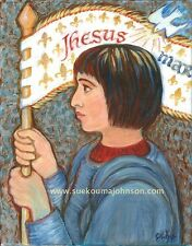 """St. JOAN of ARC—11 x 14""""—Catholic Art Print—Confirmation Gift—Woman Soldier"""