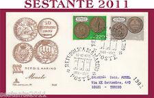 SAN MARINO FDC CAPITOLIUM 91 FAIP F.A.I.P.  MONETE 1972 VIAGGIATA (242)