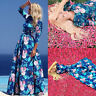 Women' s Ladies Floral Long Sleeve Beach/ Party Evening Maxi Dresses Plus Size