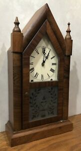 E N Welch 8 Day Cottage Steeple Mantel Table Shelf Clock