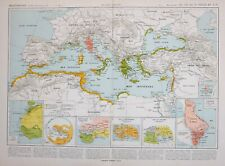 HISTORICAL MAP MEDITERRANEAN PTOLEMY CARTHAGE CITY GREECE ATHENS ITALY HOMER