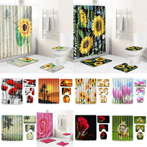 Wooden Board Sunflowers Shower Curtain Sets with Non-Slip Bath Rugs Toilet Mat