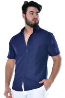 Mens Bohio Navy Print Casual Short Sleeve Shirt ( S ~ 2XL ) - MCS1030