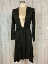 Ema Savahl Deep Front Plunge V-neck Slinky Black Dress Midi Long Sleeve 30-40""