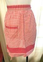 Vintage Pink Gingham Apron Handmade