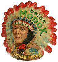 "(3) DRINK MODOX SODA POP INDIAN CHIEF 24"" HEAVY DUTY USA MADE METAL ADV SIGN"