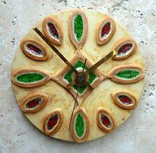 Hand Made Circular Round Yellow Ceramic & Glass  Wall Clock Quartz Movement