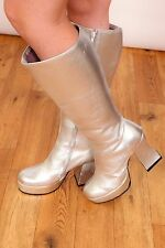 Vintage space age silver knee boots gogo mod disco dancer