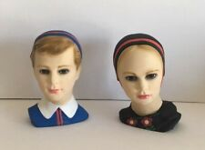 VINTAGE RARE PAIR OF DUTCH/DENMARK BOY & GIRL CHALKWARE HEAD BUST FIGURES