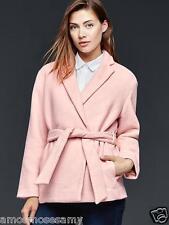 NWT Gap Womens Cozy Wool Belted Wrap Coat Jacket Dusty Pink Pockets XS $168 NEW