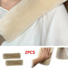 2xPearl Color Car Auto Belts Covers Sheepskin Seatbelt Shoulder Pad Covers Soft