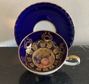 Aynsley China Cobalt Blue and Gold Tea Cup and Saucer Signed by D. Jones