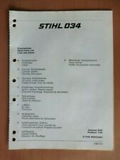 Ersatzteilliste STIHL Motorsägen 034 Ausgab 08/1984 Ersatzteilkatalog Parts List