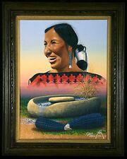 "JACKIE BLACK ORIGINAL PAINTING ON CANVAS BOARD ""NAVAJO WOMAN CORN GROWER"" (1980)"