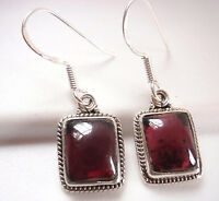Garnet with Fine Rope Style Accents 925 Sterling Silver Dangle Earrings