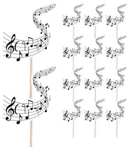 14 Party Food & Cup Cake Picks Sticks Decorations Toppers Music Musical Notes