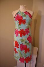 The Gap Gorgeous Turquoise Blue Red Green Floral Print Silk Halter Dress 8